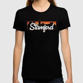 Vintage Stamford Connecticut Sunset Skyline T-Shirt T-shirt