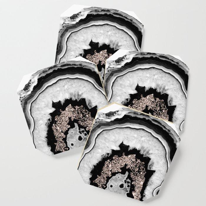 Gray Black White Agate with Rose Gold Glitter #1 #gem #decor #art #society6 Coaster