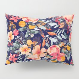 Navy Floral Pillow Sham