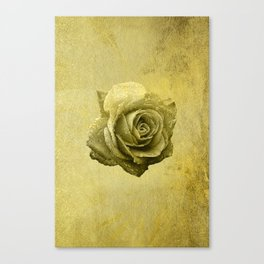Metallic Gold Rose Flower Luxury Floral Victorian Bohemian Girly Wedding Bride Canvas Print
