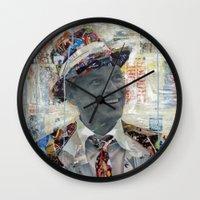 frank sinatra Wall Clocks featuring Frank by Katy Hirschfeld
