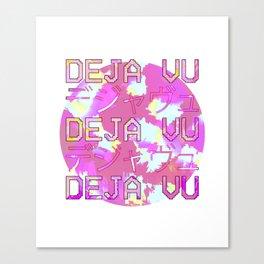 Vaporwave Japanese 1980s Aesthetic Deja Vu Text T Shirt Canvas Print