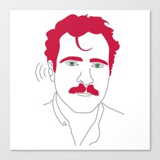 Blue-tooth pink mustache guy Canvas Print