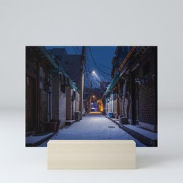 Snowy Seoul Homes Mini Art Print
