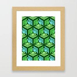 Japanese Cranes, Jade Green and Light Blue Framed Art Print