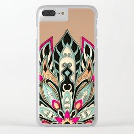 Tribal Geometric brown and green Mandala Clear iPhone Case