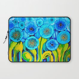 Field of Blue Poppies with Top and Bottom Border Belize Laptop Sleeve