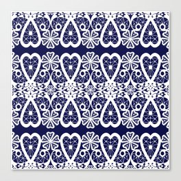 Retro . Lace blue white pattern . White lace on blue background . Canvas Print