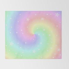 Rainbow Swirls and Stars Throw Blanket