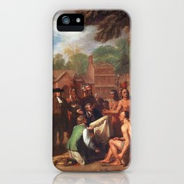 Classical Masterpiece 'The Treaty of Penn with the Indians' by Benjamin West iPhone Case