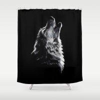 wolf Shower Curtains featuring Wolf by Sandy Elizabeth