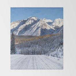 Winter Wonderland - Road in the Canadian Rockies Throw Blanket