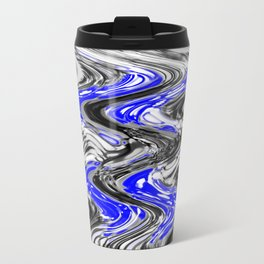 A Black and White Flow With Blue Travel Mug