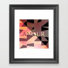 Amour Love Heart Cubic Design Framed Art Print