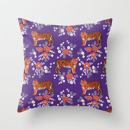 Tiger Clemson purple and orange florals university fan variety college football Throw Pillow