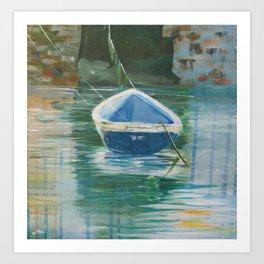 Rowing boat in Polperro Harbour Art Print