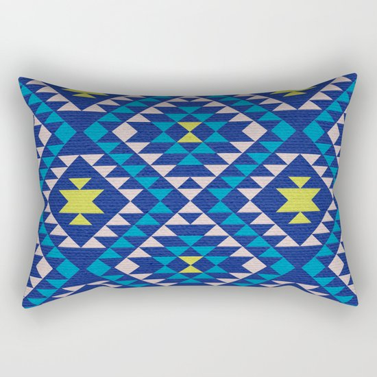 Tribal geometric pattern - blue Rectangular Pillow