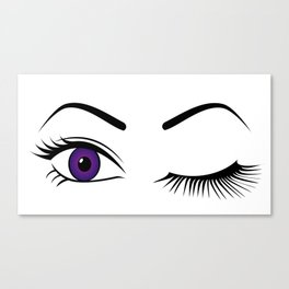 Violet Wink (Right Eye Open) Canvas Print