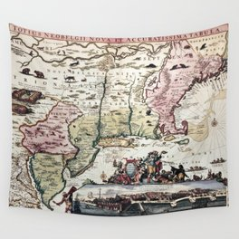 New England old map with New Amsterdam Wall Tapestry