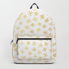 Luxe Golden Foil Snowflake Seamless Pattern Background, Elegant Hand Drawn Backpack