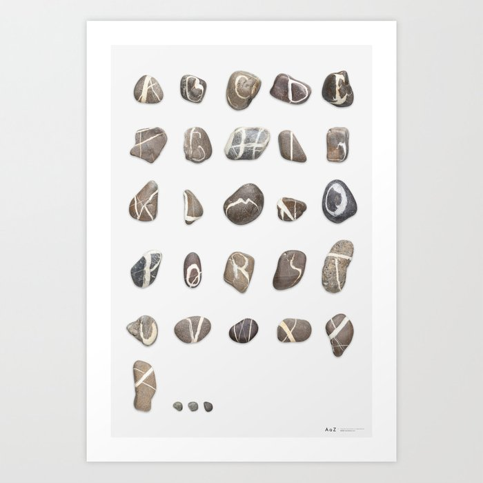 Real Stones Font A to Z Art Print