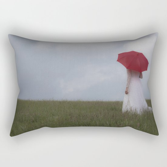 Red and White I Rectangular Pillow