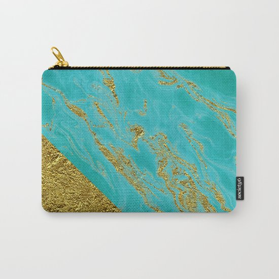 Luxury and glamorous gold glitter effect on aqua Sea marble 1 on #Society6 Carry-All Pouch