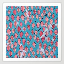 San Juan ( Puerto Rico) pink kites and sky pattern Art Print