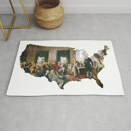 USA MAP The Signing of the Constitution of the United States Rug