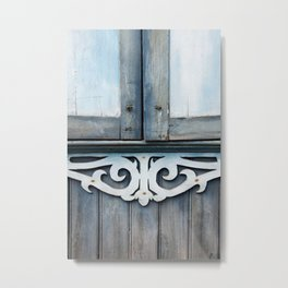 blue wooden window detail Metal Print