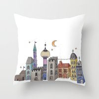 europe Throw Pillows featuring Exploring Europe by Maxine Hughes