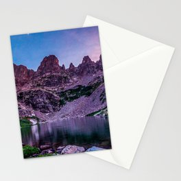 Purple Mountain Lake // Rocky Peak Crescent Moon Incredible Colorful Sunset Beauty Stationery Cards