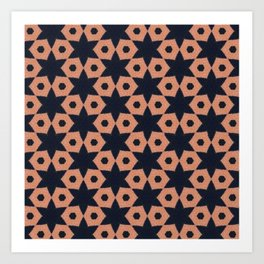 corail and black fabric Art Print