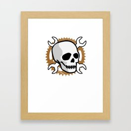 Motocross Motorsport Mechanic Gift Skull Biker Motorcycle Biker Framed Art Print