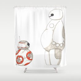 BB8 Meets Baymax Shower Curtain