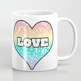 Pastel Love Mosaic FIlled Heart Graphic Design  Coffee Mug