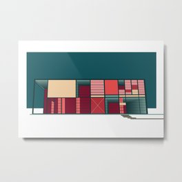 Mid-Century Modern Architecture in California - Pink, Yellow, & Blue Metal Print