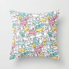Cute kitties. Cats pattern. Throw Pillow
