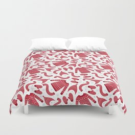 Red white snow flakes Christmas winter fashion pattern Duvet Cover