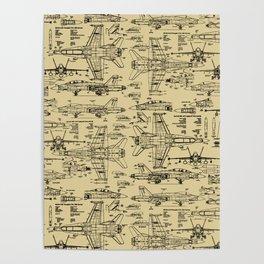 F-18 Blueprints // Tan Poster