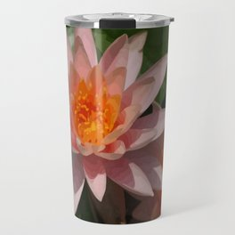 Beautiful Peach Waterlily Vector Travel Mug