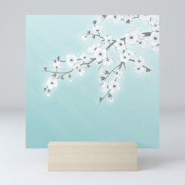 Cherry Blossoms Mint White Mini Art Print