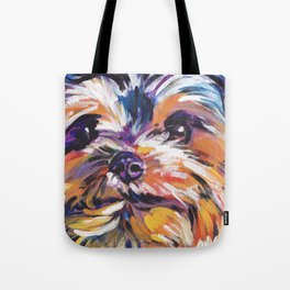 Fun Yorkie Dog Portrait bright colorful Pop Art Painting by LEA Tote Bag