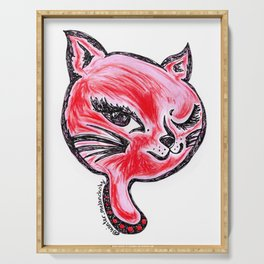 Winking Kitty Red Serving Tray