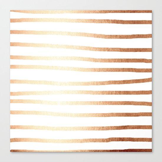 Simply Drawn Stripes Deep Bronze Amber Canvas Print