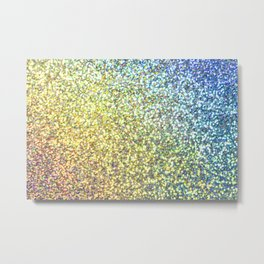 Blue & Gold Glitter Ombre Metal Print