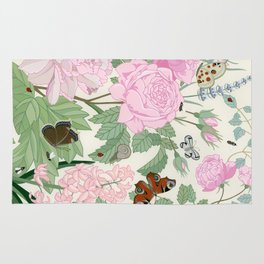 Pink flowers and butterflies Rug
