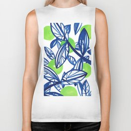 Blue and lime green abstract apple tree Biker Tank