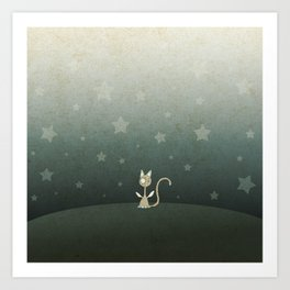 Small winged polka-dotted beige cat and stars Art Print