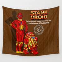 tony stark Wall Tapestries featuring Droid for sale iPhone 4 4s 5 5c 6, pillow case, mugs and tshirt by Greenlight8